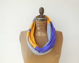 LSU Louisiana State University T Shirt Infinity Scarf Womens Scarves Recycled Tee Scarf Football Scarf Sports Scarf Cotton Scarf