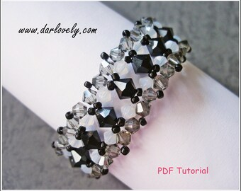 Beaded Bracele Pattern - White Opal Black Bracelet (BB141) - Beading Jewerly PDF Tutorial (Digiital Downloads)