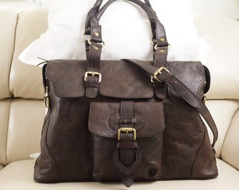 Distressed Genuine Leather Bag, Leather Tote Shoulder Bag Leather Tote bag Leather handbag Crossbody Purse Johanna L, vintage dark brown!