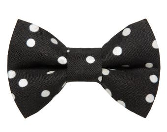 "Cat Bow Tie - ""The Spotlight"" - Black with White Opalescent Polka Dots"
