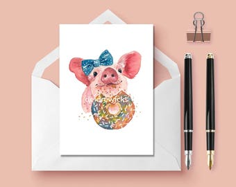 Pig Greeting Card - Blank Card, Sprinkle Donut, Birthday Card, Thank You, Pig Watercolor, Stationary