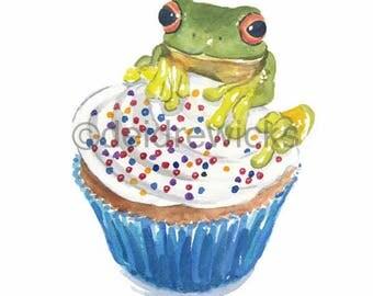Frog Watercolor PRINT - 5x7 Frog Print, Cupcake Watercolour, Kitchen Art, Animal Painting, Food Art