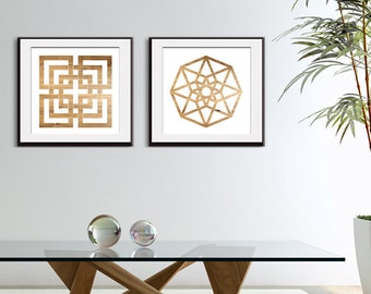 Impossible Geometric Shapes (octagon & square) - Set of Square 2 Art Prints  (Featured in Brown Bark) Geometric Art Print and Posters