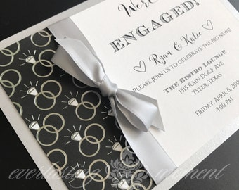 Engagement Invitation engagement announcement black silver white neutral invitations