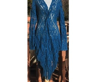 Fringed Jacket/ Hand crochet  from Fine Merino Silk blend yarn/Teal Blue Soft Lace/ One Of A Kind/ Size L/Ready to ship