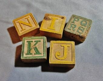 Lot of 6 Antique Wooden Alphabet Blocks Children's Toy