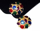 Jewel Tone Round Earrings - Enamel Geometric Shapes - Clip on Earrings - Gold Tone Settings - Vintage 1980's 1990's