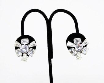 Clear Rhinestone Clip on Earrings - Pinwheel Design Silver tone Opened Back Settings - Mid Century Vintage 1950's 1960's Era