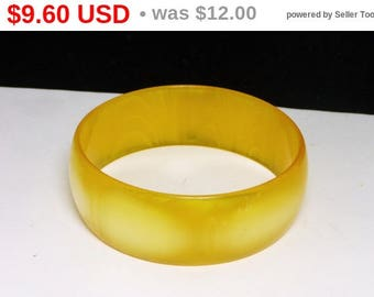 Spring Sale Lemon Yellow Wide Bangle Bracelet - Mid Century Mod Spring Lucite Jewelry
