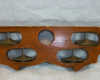 Vintage Unique Wood Carved Brass? Tambourine Unusual Shape