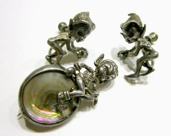 Vintage Cyvra Sterling Elf Brooch Screw Back Earring Set Pixie Elves Abalone Pin Collectible Sterling Silver Vintage Jewelry