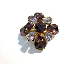 Vintage Purple Rhinestone Brooch Small Purple Gold Stone Jewelry Gift for Her Gift for Mom Gift Idea Under 15