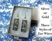 William Morris earrings, bird earrings, small glass earrings, art nouveau earrings, strawberry thief, textile design earrings, 1883