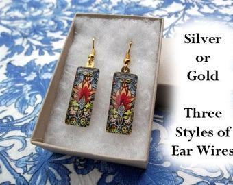 William Morris earrings, floral earrings, small glass earrings, art nouveau earrings, snakeshead textile design, red, flowers, 1876