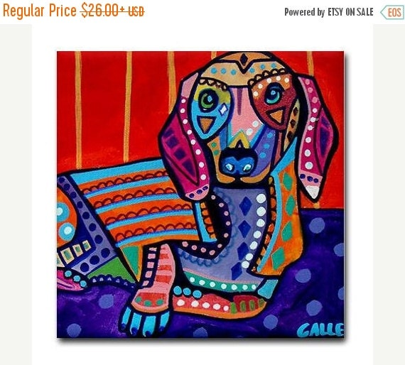 45% Off Today- DOXIE GIFT Dachshund Tile  Dachshund Art Doxie Art Blue Dog  Modern Pop Art Abstract Print on Coaster