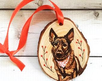 Pet Memorial Ornament- Custom Pet Ornament- Custom Pet Portrait- Wood Slice Ornament- Custom Ornaments- Custom Christmas Ornament- Pet Gifts