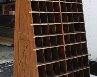 "Hardware Store Cabinet / Cubbies early 1900""s Solid Oak"