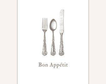 Bon Appetit Sign, Art Print, fork, knife, spoon, cutlery illustration
