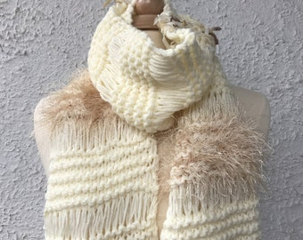 Knitted Scarf Women Dropped Stitch Scarf Extra Long Off White Cream and Brown Eyelash Yarn