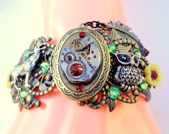 Dark Native Dream, Plight of Earth, Steampunk Locket Bracelet,Ruby Jeweled Watch Movement, Swarovski Crystals,Steam Punk Cuff,OOAK