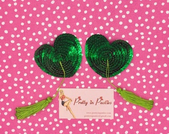 Heartbreaker Heart-Shaped Burlesque Pasties with Tassels - Multiple Color Options