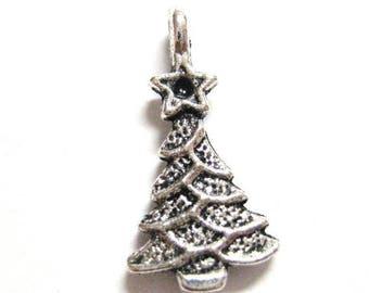 75% OFF- 20pcs Silver Christmas Tree Charms - Christmas Pendants - Wholesale DIY Christmas Charm Supplies - Antique Silver 028