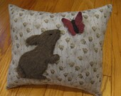Standing Furry Bunny Rabbit and Butterfly Spring Pillow 3 Dimensional