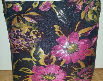 Flower Tote bag   Black - pink shoulder bag   Mother day gift   Sister gift   Totes bag