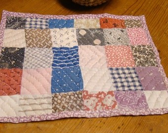Antique Doll Bed Quilt Handmade Calico Cotton Hand Quilted Small Original 1800s 19th Century