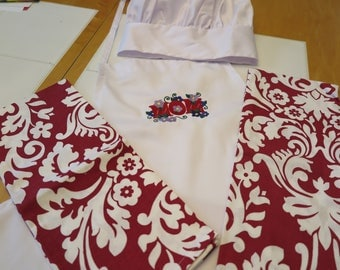 MOM  apron-embroidered- Chefs hat and dish towels- Mothers Day is May 14th