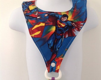 Superman Inspired Baby Bib with Pacifier Holder