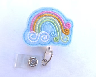 SALE - Retractable badge holder - Pastel rainbow - blue felt - nurse badge reel medical badge reel