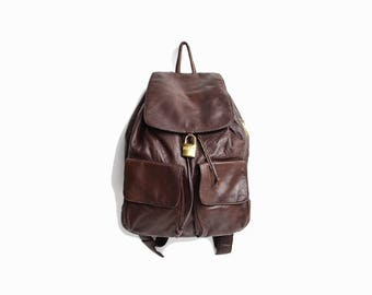 Vintage 90s DKNY Leather Backpack in Dark Chocolate / Brown Leather Backpack