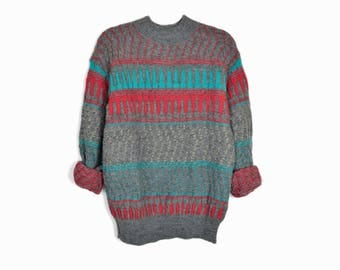 Vintage 90s Boyfriend Sweater in Gray with Red & Teal Stripes - men's large