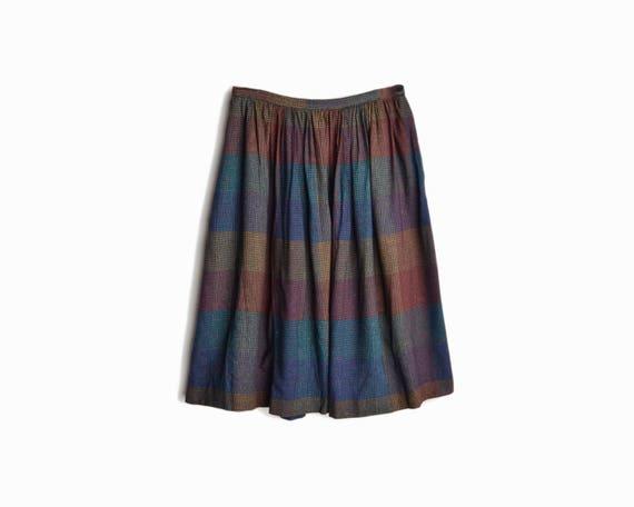 Vintage 80s Black Check Plaid Dirndl Skirt - women's small