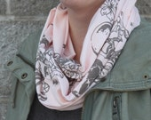 Blush Sailor Small Infinity Scarf, Sailor Print with diamonds, anchors, skulls, flowers, Screen Printed, made in Canada