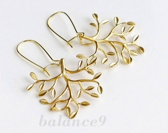 Tree Earrings, tree of life earrings, gold tree, branch earrings, tree dangle kidney, holidays gift jewelry, by balance9