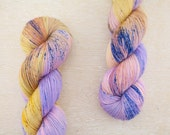 """Rad Sock - """"Ballad of the Golden Hour"""" - straw yellow and lavender speckled yarn - fingering weight superwash merino"""