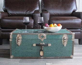 "Mid Century Teal Litho Metal Sided Trunk, Footlocker ""Great for Coffee Table, Storage, Decorating"""