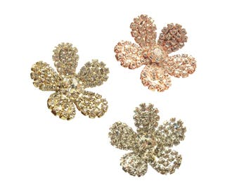 Daisy Rhinestone buttons 2pc or 5pc - Wedding Invitation Card - Shoeclip - Garter - Hairpiece - Hairpin - Earring RB-050 (25mm or 1 inch)