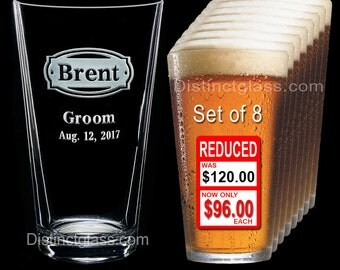 Groomsman - Best Man - Groom - Set of 8 Personalized Etched PINT BEER GLASS - Ships to Canada