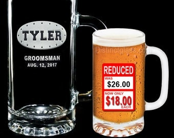 Gifts for Groomsmen Beer Mugs - OVAL RIVET CREST Wedding Party Beer Mugs - 16oz Etched Glass Beer Mugs - Ships to Canada
