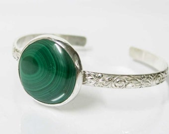 Green Malachite Stone Bracelet Cuff in Sterling Silver