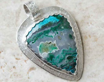 Blue Green Azurite Malachite Pendant in Sterling Silver Handcrafted