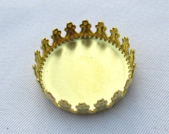 15pcs Round Brass Setting for 15mm Cabochon Loose Filigree Findings t104