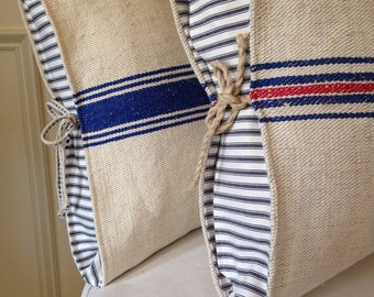 Grain Sack Pillow Antique Grain Sack Pillow  Blue Grain Sack Pillow Ticking pillow Grain Sack Pillow Cover