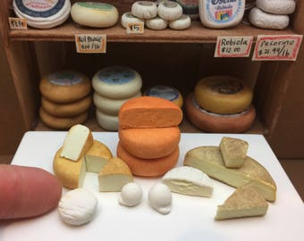 Miniature Dollhouse Assorted Loose Cheese in 1:12 scale one inch deli display