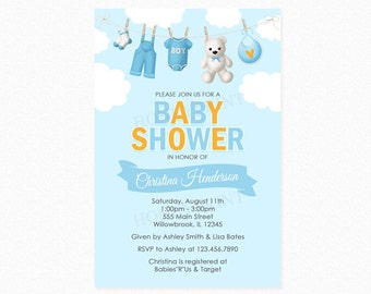 Clothesline Baby Shower Invitation, Boy Baby Shower Invitation, Personalized, Printed or Printable Invitation