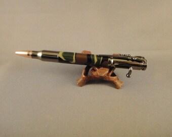 Replica 30 Caliber Bolt Action Bullet Pen - Woodland Camo Acrylic