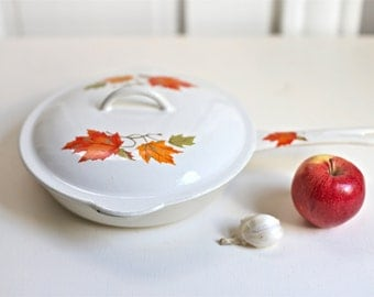 Enameled Cast Iron Saute Pan  Wrought Iron skillet with white Porcelain from Belgium
